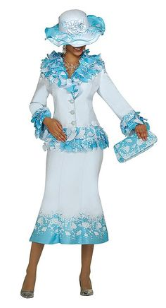 Nubiano Womens Blue Border Design Church Suit N96602 at frenchnovelty.com