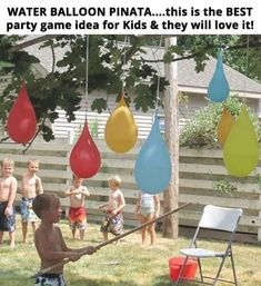 Play a refreshing game of water balloon piñatas. 37 Ridiculously Awesome Things To Do In Your Backyard This SummerA Backyard Water Party featuring water balloon piñatas, colored kool-aid ice cubes, fence mural finger painting, & shaving cream pool. Water Birthday Parties, 5th Birthday, Backyard Birthday, Kids Water Party, Children Birthday Party Ideas, Outdoor Birthday Games, Kids Birthday Party Games, Water Gun Party, Pool Parties