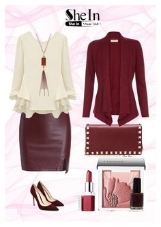 """""""Beige Long Sleeve T-shirt"""" by moon-blue ❤ liked on Polyvore featuring Valentino, Gemma Simone, Clinique, Monsoon and shein"""