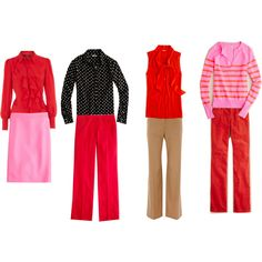 pink pencil skirt, red shirt red pants, black patterned shirt brown pants, red shirt red pants, pink striped sweater