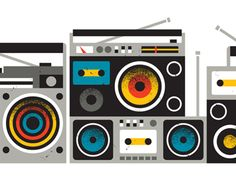 A wall of boomboxes #illustration