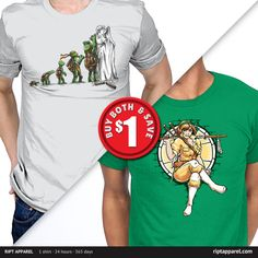 """Get """"Michelangelo"""" from artist AlbertoArni and """"April's Armory"""" from artist Obvian today only, January 9, for $10 at RIPT Apparel. www.riptapparel.com"""