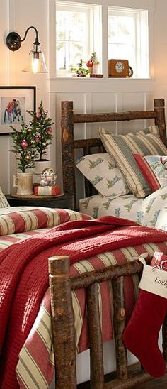 Rustic and simple Christmas Bedding.