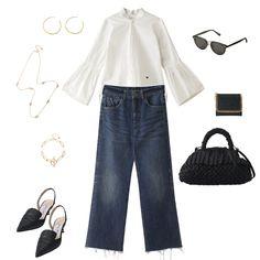 定番をアップデートして気分をチェンジ。「マディソンブルー」のプレフォールコレクションから、今から着られるブラウスをピックアップ。究極にシンプルなシャツは最高に格好いいのですが、なかなかおしゃれに着こなすのが難しいと考えてる方も、こちらは袖がドラマティックなので一枚でサッとこなれ感満載の大人の女性になれてしまう逸品。白いブラウスを着こなしている人っていつの時代も素敵ですよね。今回の着こなしでは裾をデニムにINしていますが、ラウンドヘムになっているのでOUTしてもグッド。 Today's Outfit, Polyvore, Outfits, Style, Fashion, Swag, Moda, Suits, Fashion Styles