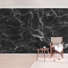 Papier peint intissé - Nero Carrara - Mural Large Dimension HxL: x - Marble Stones, Motif Floral, Carrara, Chair, Furniture, Home Decor, Image, Products, Mural Ideas