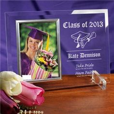 Engraved Graduation Glass Picture Frame | Personalized Graduation Picture Frame | Grad Frame