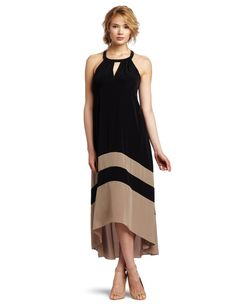 Laundry by Shelli Segal Women's Color Block Hi-Low Maxi Dress, Khaki/Black, 2 Cheap Dresses, Cute Dresses, Hi Low Maxi, Evening Dresses, Summer Dresses, Laundry By Shelli Segal, Homecoming Dresses, Plus Size Dresses, New Dress