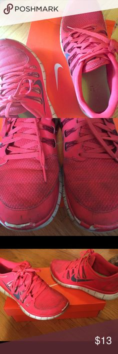 Red Nikes Red Men's Nike sneakers. Slight scruff in front. Size 9. Box not included. Nike Shoes Sneakers