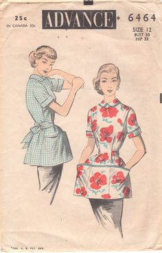 Advance 6464 1950s Misses Cobbler APRON BLOUSE Pattern Back Button Smock Style womens vintage sewing pattern by mbchills