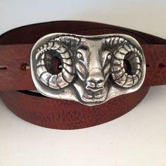 Blackface Ram's Head Buckle & Belt - Pewter or Bronze