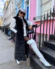 Our Nadia faux fur gilet is a must-have this season! featuring a full length gilet... Black Faux Fur Gilet, Faux Fur Vests, Catwalk Collection, Velvet Blazer, Black Tops, Fur Coat, Chic, Stylish, Skirts