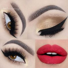 Golden Smokey Eye and Red Lips