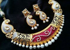 Gold plated CZ Stone necklace with earrings Kundan Jewellery Set, Kundan Bangles, Temple Jewellery, Pendant Jewelry, Gold Pendant, Gold Jewelry, Jewelry Design, Designer Jewellery, Gold Set