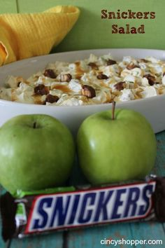 Snickers Salad Recipe. Perfect for parties. A caramel apple wrapped in yumminess! ALWAYS a hit!