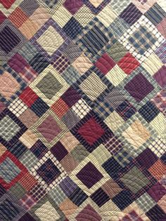 close up of a lovely plaids & stripes quilt, from the timeless traditions quilts blog