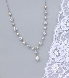 Crystal and Pearl Bridal Necklace  by JamJewels1