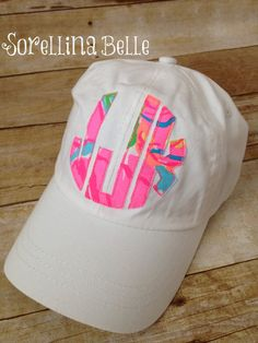 Lilly Pulitzer fabric Monogram hat women's youth by DueSorelleNC