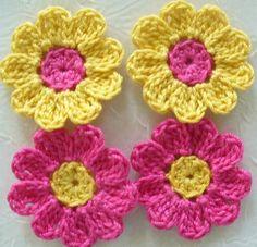 Bright Crochet Flowers, Appliques, Embellishments, Pink, Yellow, Purple - set of 16
