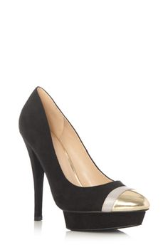 Black pumps with gold tips