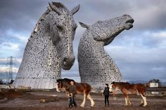 """Andy Scott's """"Kelpies"""" on the Forth and Clyde canal in Scotland - the world's largest equine sculpture!"""