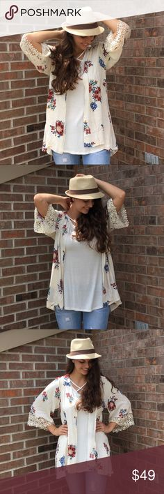 """Infinity Raine Floral Kimono ▫️PM EDITOR PICK▫️Infinity Raine Floral Lace Kimono - so fun!! Modeling size S.  No tags attached.  PRICE FIRM UNLESS BUNDLED (10% off 3+ bundles).                                                          ▪️Bust: S-23"""" M-24"""" L-25""""  ▪️Length: S-31"""" M-32"""" L-33""""                                  🌺100% Rayon  🌺Hand Wash  🚫PayPal 🚫Trades ☄I no longer thank my wonderful customers in the comments after a purchase just in case they are buying a gift. Please know I…"""