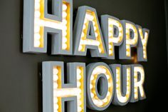 DIY Happy Hour Marquee Sign Tutorial from A Beautiful Mess Marquee Letters, Marquee Lights, 3d Letters, Light Letters, How To Make Drinks, Beautiful Mess, My New Room, Clever Diy, Diy Wall