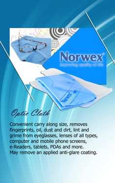 #Norwex #Optic Cloth (www.norwex.com) Eyeglasses, CD's and camera lenses all work better if the light is perfectly reflected or absorbed evenly without distortion. Using the wrong cloth to clean such delicate surfaces can easily cause scratches. This pocket-sized microfiber cloth is specially designed for removing greasy finger prints and residues from small surfaces.  Do NOT use on applied anti-glare finishes.