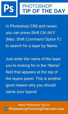 Photoshop tip of the day - How to search for layers by name. Photoshop tips. Nordic360.