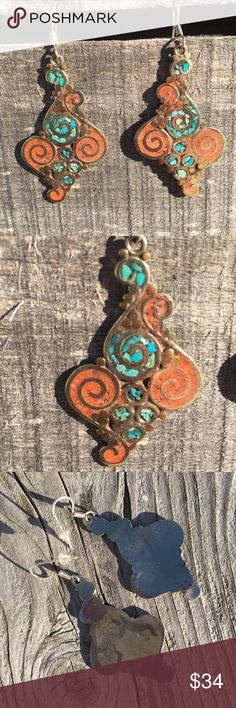 🆕List! Turquoise Tibetan Swirl Earrings! NEW! Beautiful drop earrings! Measure 2 1/8 inches tall and 1 1/8 inches wide. New from package. Boutique Jewelry Earrings