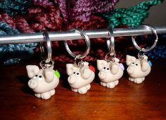 Polymer clay stitch markers Little Piggy by TammysClayCreations, $14.00