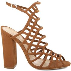 HIGH HEEL CAGED SANDAL - 4 Inch Heel - Adjustable Ankle Strap - Leather Insole - Leather Outsole - Upper: Nobuck **RUNNING HALF SIZE SMALL