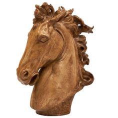 Important French Art Deco Terracotta Horse Head Sculpture | From a unique collection of antique and modern sculptures at https://www.1stdibs.com/furniture/decorative-objects/sculptures/