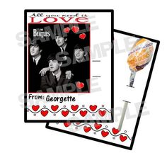 Retro Fab BEATLES Personalized Valentine VALENTINES DAY CARDS Holds Lollipop #ValentinesDay