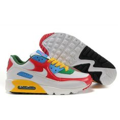 timeless design c6392 8b432 Cheap Original Nike Air Max 90 Women Premium Trainers Red Yellow White And  Green Sneaker Sale Outlet Store