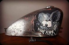 Rat Fink illustration on raw metal