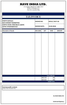 gst tax invoice template free GST Invoice Format in Excel, Word, PDF and JPEG (Format No. Microsoft Word Invoice Template, Invoice Format In Excel, Invoice Example, Printable Invoice, Receipt Template, Resume Format, Payroll Template, Sample Resume, Memo Format