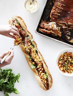 Free Range Pork Rolls with Aioli, Peach Salsa and Honey Mustard Dressing