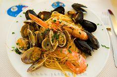 Spaghetti frutti di mare at Caffe degli Specchi, Trieste, Slovenia