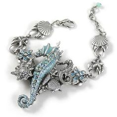 Amazon.com: Swarovski Crystal and Enamel Sterling-Silver-Plated Brass Adjustable Seahorse Bracelet: Mary Demarco: Jewelry