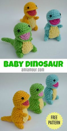 Dinosaur Amigurumi Pattern - Free - Ami Amour Free Baby Dinosaur Amigurumi Crochet Pattern with adorable open mouth look! Dinosaur Amigurumi Pattern - Free - Ami Amour Free Baby Dinosaur Amigurumi Crochet Pattern with adorable open mouth look! Kawaii Crochet, Cute Crochet, Crochet Crafts, Easy Crochet, Crochet Baby, Crochet Projects, Crochet Dinosaur Patterns, Crochet Patterns Amigurumi, Crochet Dolls