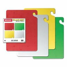 Cutting Board Set, 15x20, 4 Boards by San Jamar. $108.49. Co-Polymer. Four-Piece Cutting Board Set, Color Red, Yellow, Green, White, Series Cut-N-Carry , Includes Features Cut-N-Carry Hook, NSF Listed Cut-N-Carry Cutting Boards and MatsFeature food safety hook. Tough surfaces will not dull knives and prevent cut-grooving. 6-pc. set includes wall chart that gives pictorial instructions for proper use.Color-coded board sets help prevent cross-contamination betwe...