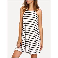 Black White Striped Strappy Swing Shift Dress