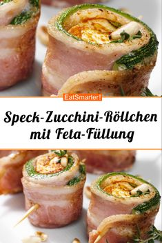 Bacon and zucchini rolls with feta filling - smart . Bacon and zucchini rolls with feta filling – smarter – calories: 317 kcal – time: 20 min. Breakfast Party, Brunch Recipes, Breakfast Recipes, Zucchini Rolls, Vegetarian Recipes, Healthy Recipes, Easy Recipes, Lard, Le Diner