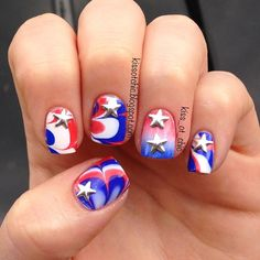 of july or memorial day by kiss_ot_chic nails. Holiday Nail Designs, Cute Nail Designs, Holiday Nails, Christmas Nails, Fancy Nails, Love Nails, Red Nails, Hair And Nails, 4th Of July Nails
