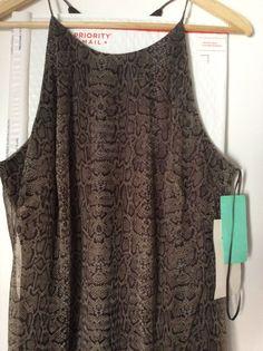 Andrea Polizzi For Rex Lester New Halter Dress Chiffon Snake Skin Print Size 10 #ANDREAPOLIZZIFORREXLESTER