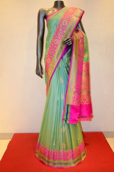 Grand Banarasi Silk Saree With Contarst Zari Border Product Code: AB212356 Online Shopping: http://www.janardhanasilk.com/index.php?route=product/product&search=AB212356&description=true&product_id=4105