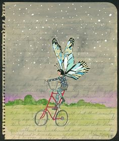 76e7fc2d9 Night Butterfly on a Tall Bike a Small and by amyriceart on Etsy
