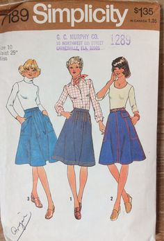 Vintage 70's Sewing Pattern Simplicity 7189  Misses' Skirts Waist 25 inches Size 10  Complete by GoofingOffSewing on Etsy