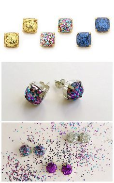 truebluemeandyou:  DIY Cheap and Easy Kate Spade Knockoff Glitter Earrings Tutorial from Thanks, I Made It.There is an easy but important trick to making these earrings look this good and not like glitter glue blobs. Top Photo: Collage of Kate Spade $38 Glitter Earrings by Thanks, I Made it here. Bottom Photos: DIYs by Thanks, I Made It.
