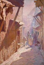Adam Styka Rue animée dans la médina de Fès Oil on canvas  h: 127 w: 87 cm | MutualArt